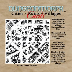 """DungeonMorph Cities, Ruins, Villages 2.5"""" Cards"""